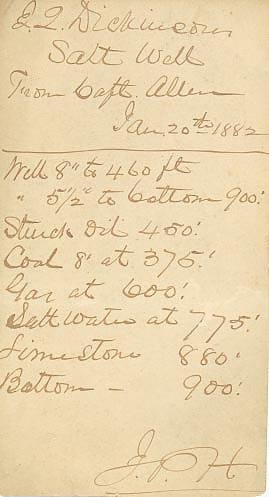 Hand-written note from the J. Q. Dickinson company in 1882.